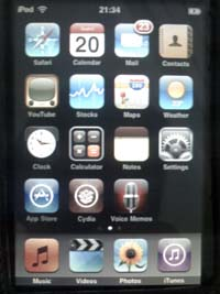iPod touch firmware 3.0 Home screen