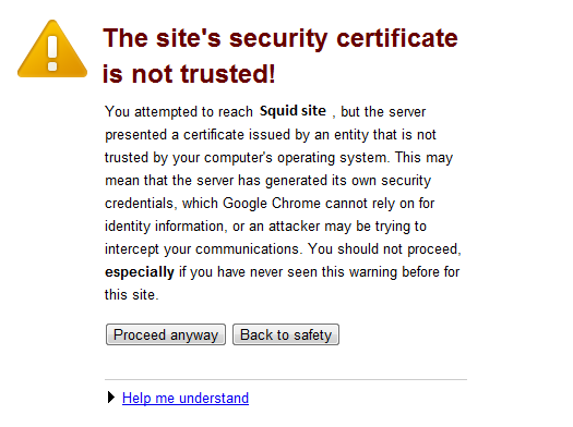 site's security certificate is not trusted